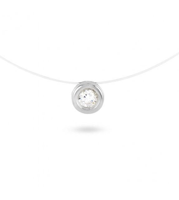 Collier fil transparent Argent 925/00 et zircon serti clos