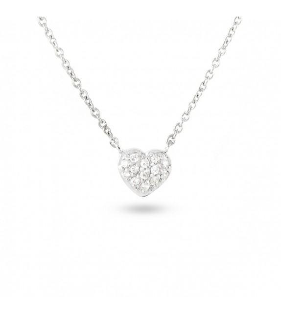 Collier cœur en Argent 925/00 et oxydes de zirconium