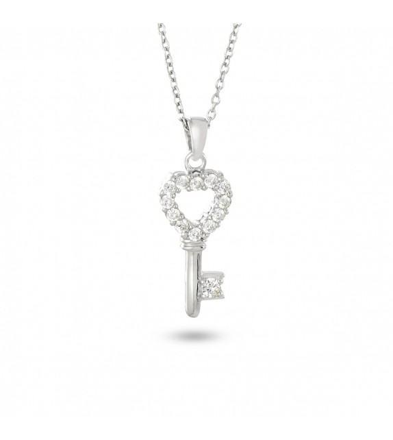 Collier clé coeur en Argent 925/00 et Zircon
