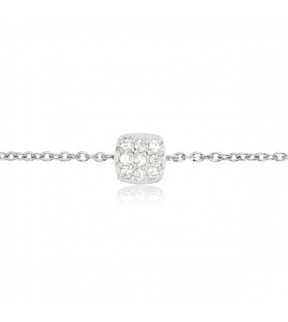 Bracelet argent 925/00 pièce pavée oxydes de zirconium