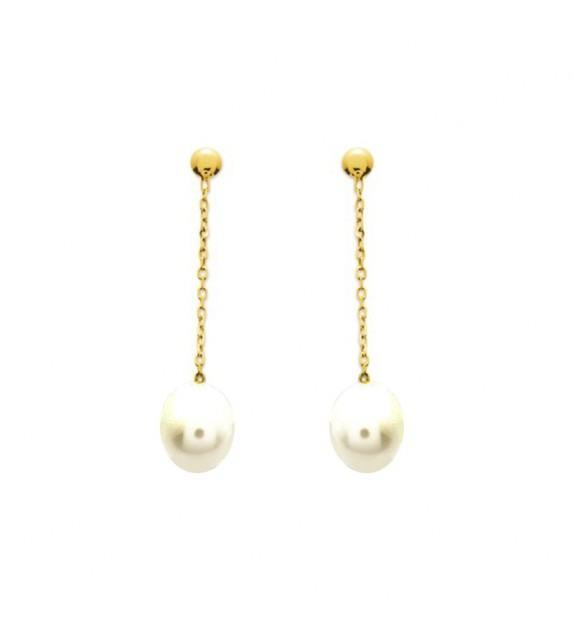 Boucles d'oreilles pendentes en Or jaune 375/00 et perle d'eau douce