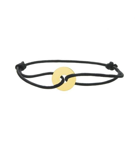 Bracelet disque en Or jaune 375/00 sur cordon