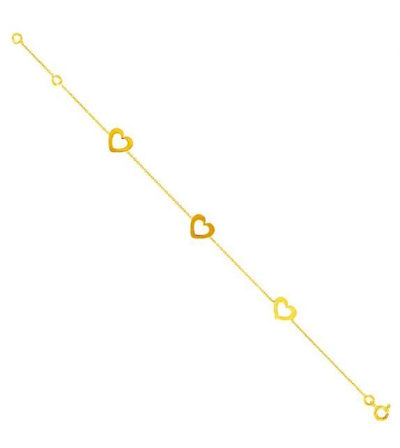 Bracelet cœurs en Or jaune 375/00