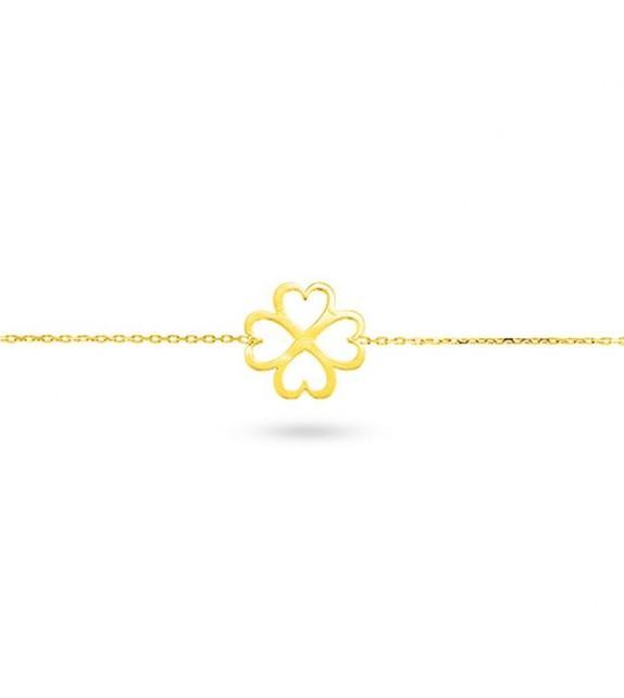 Bracelet trèfle en Or jaune 375/00