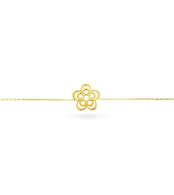 Bracelet fleur en Or jaune 375/00