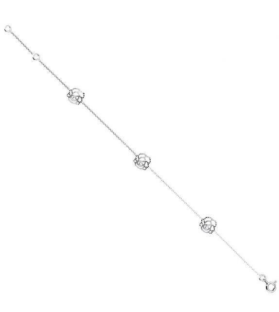 Bracelet fleurs en Or blanc 375/00