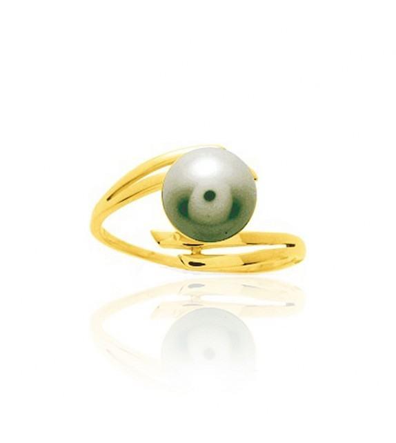 Bague en Or jaune 375/00 et perle de Tahiti