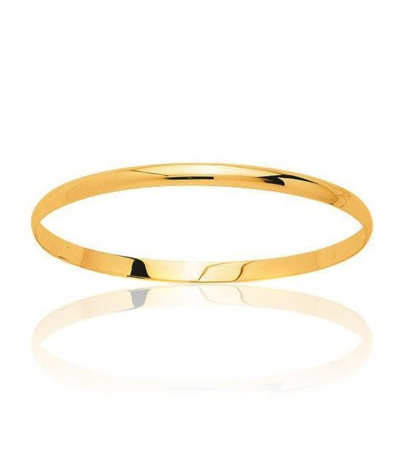 Bracelet demi jonc plat massif en Or jaune 375/00