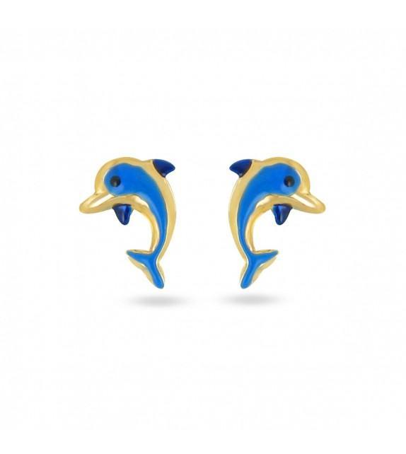 Boucles d'oreilles dauphin bleu Or jaune 375/00