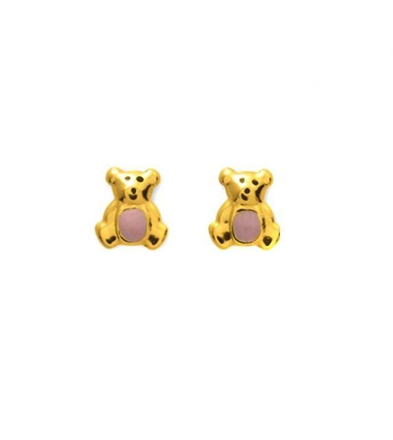 Boucles d'oreilles enfant ourson en Or jaune 375/00