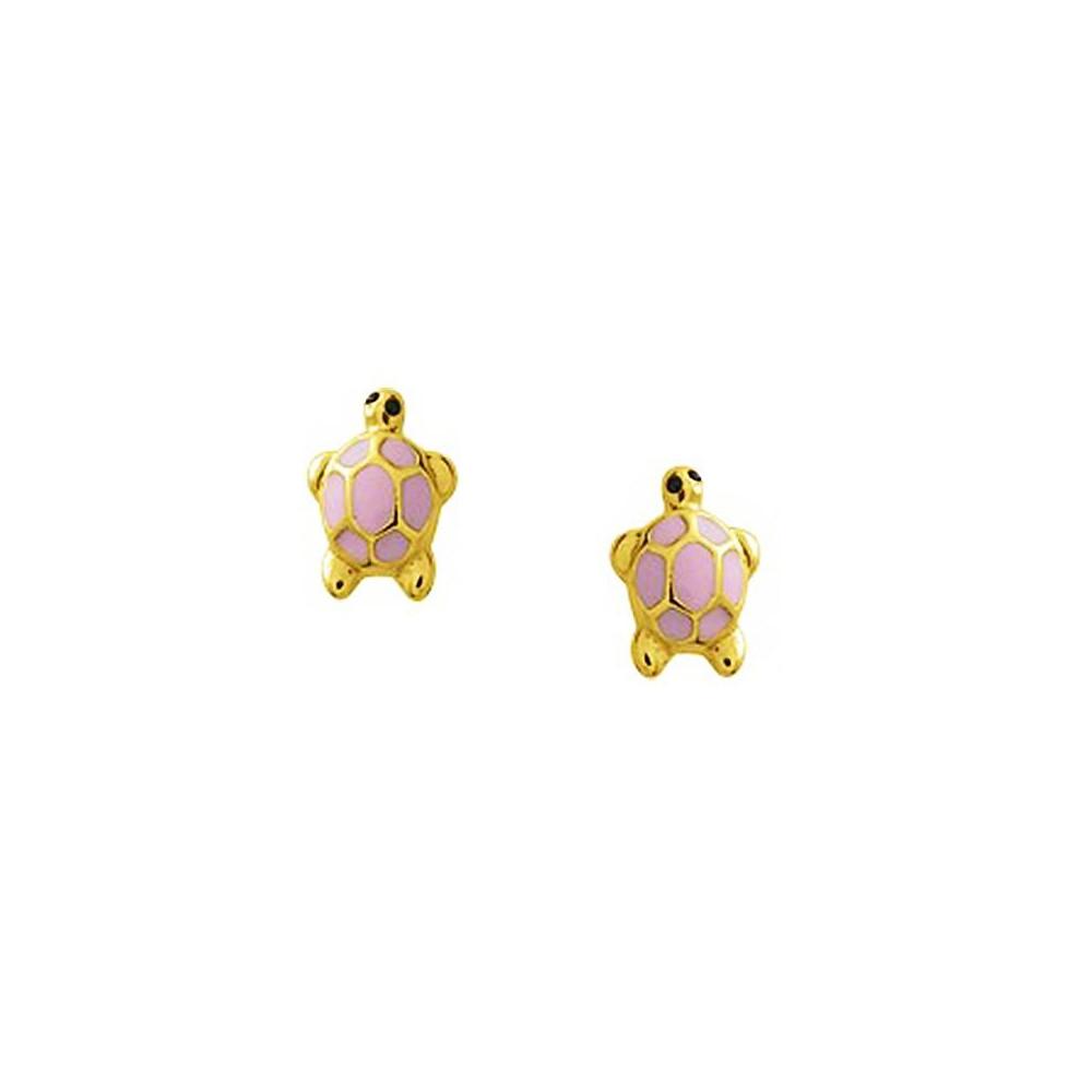 Boucles d'oreilles enfant tortue en Or jaune 375/00