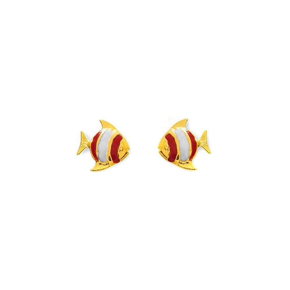 Boucles d'oreilles enfant poisson en Or jaune 375/00
