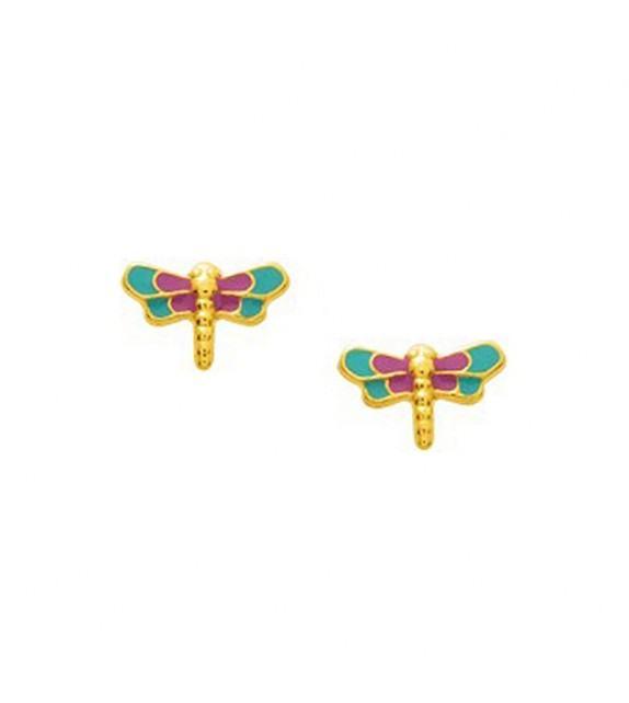 Boucles d'oreilles enfant libellule en Or jaune 375/00