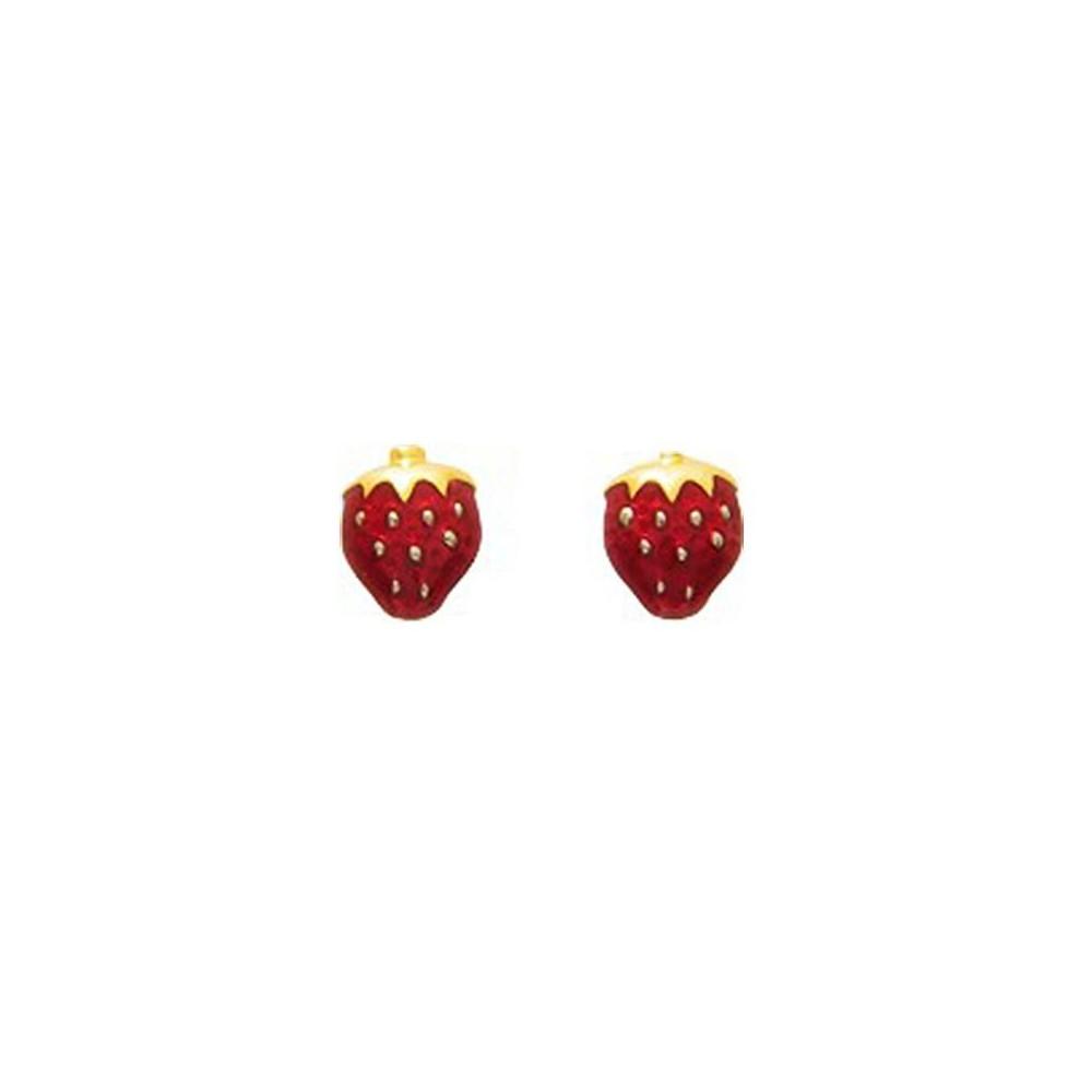 Boucles d'oreilles enfant fraise en Or jaune 375/00