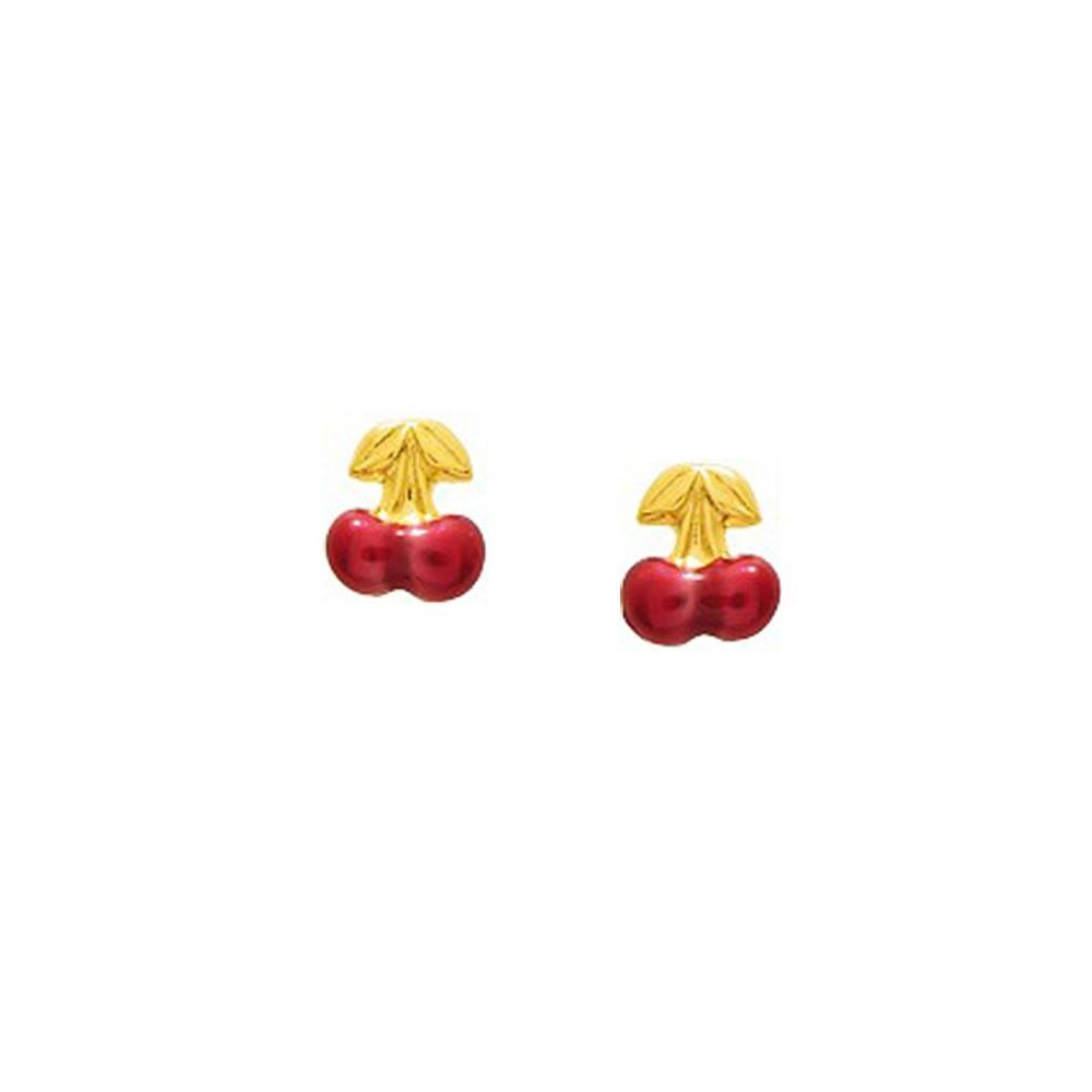 Boucles d'oreilles enfant cerises en Or jaune 375/00