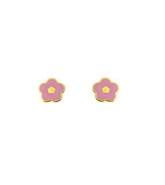 Boucles d'oreilles enfant fleur en Or jaune 375/00