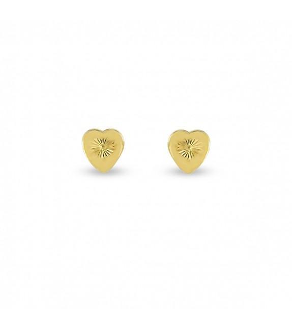Boucles d'oreilles coeur ciselée en Or jaune 375/00
