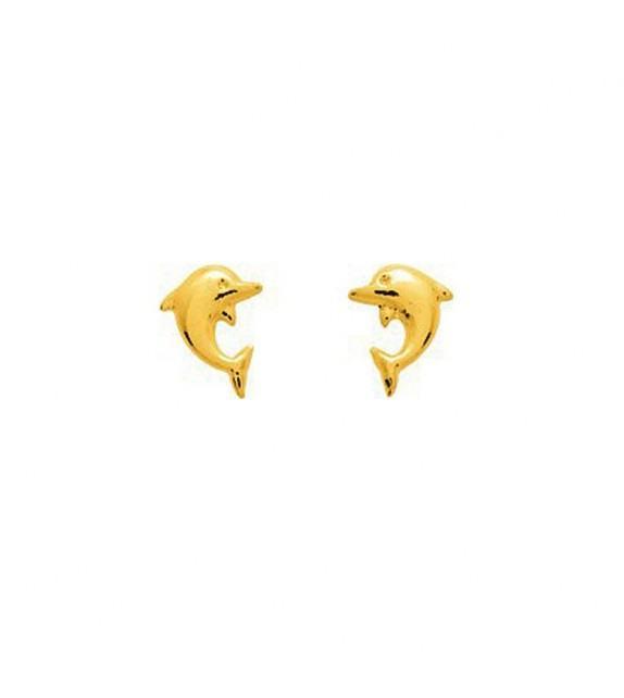 Boucles d'oreilles enfant dauphin en Or jaune 375/00
