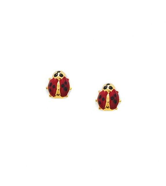 Boucles d'oreilles enfant coccinelle en Or jaune 375/00