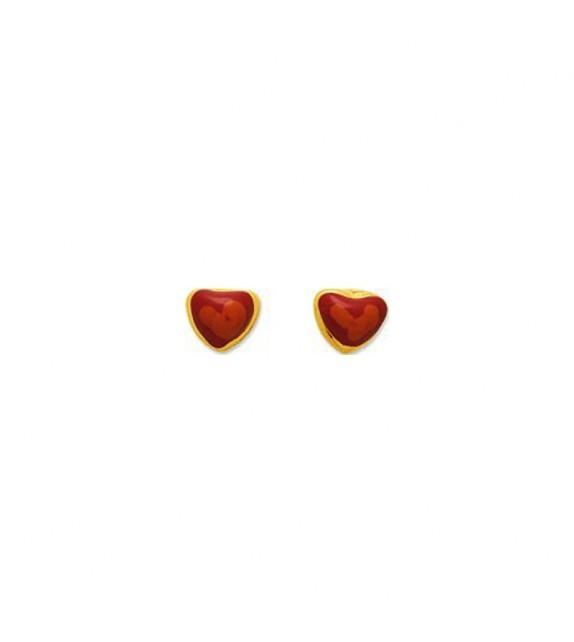 Boucles d'oreilles enfant cœur en Or jaune 375/00