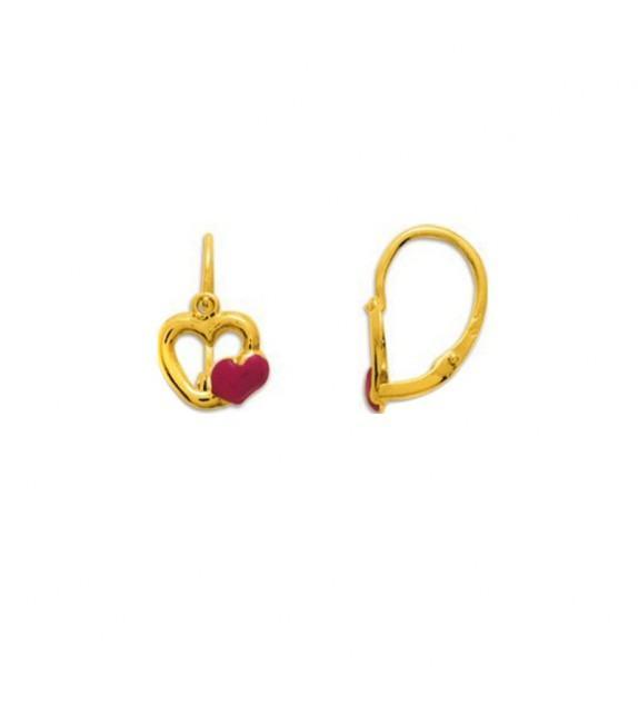 Boucles d'oreilles enfant cœurs en Or jaune 375/00