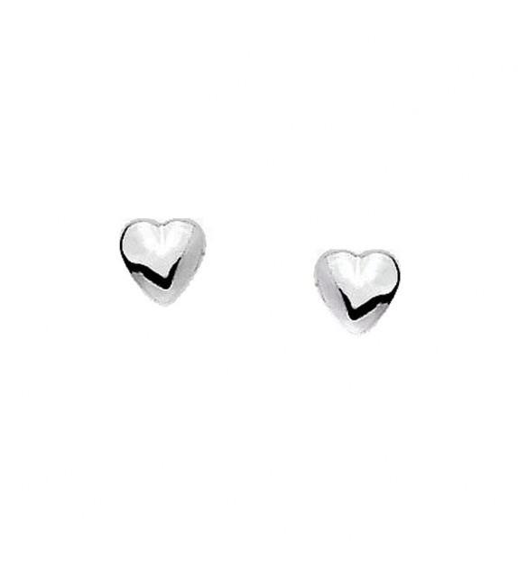 Boucles d'oreilles cœurs en Or blanc 375/00