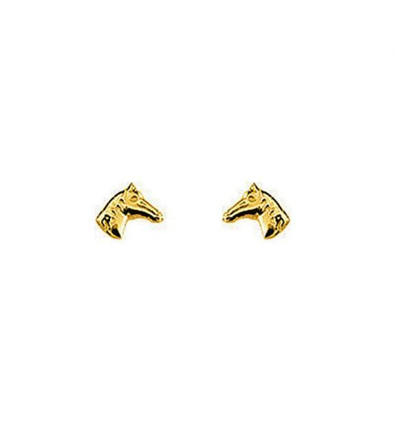 Boucles d'oreilles cheval en Or jaune 375/00