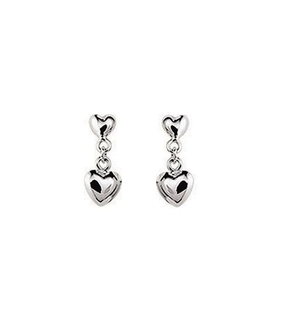 Boucles d'oreilles cœurs pendantes en Or blanc 375/00