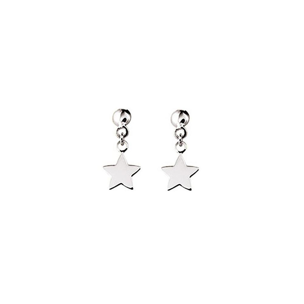 Boucles d'oreilles étoiles pendantes en Or blanc 375/00
