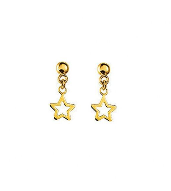 Boucles d'oreilles étoiles pendantes en Or jaune 375/00