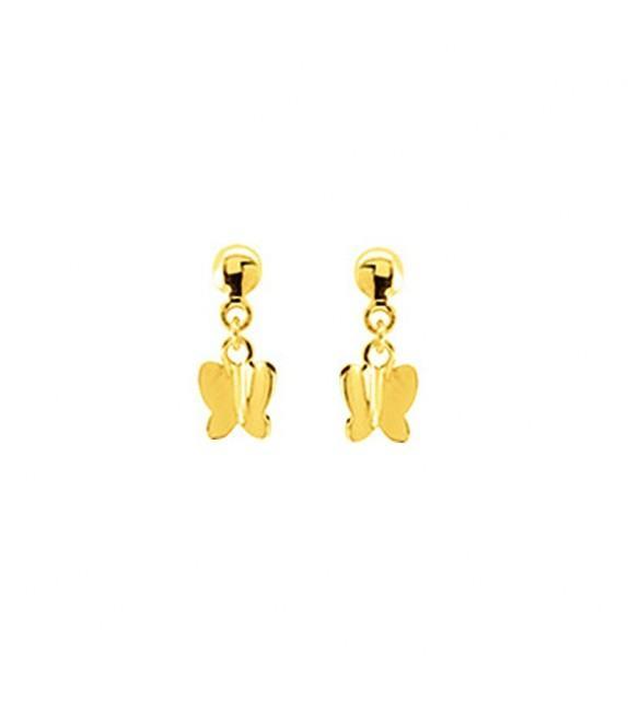 Boucles d'oreilles papillons pendantes en Or jaune 375/00