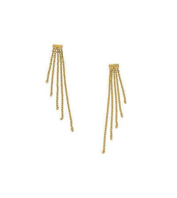 Boucles d'oreilles chaines pendantes en Or blanc 375/00