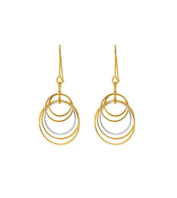 Boucles d'oreilles cercles pendantes en Or bicolore 375/00