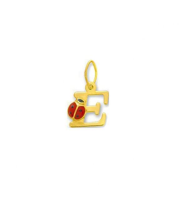 Pendentif coccinelle initiale E Or jaune 375/00