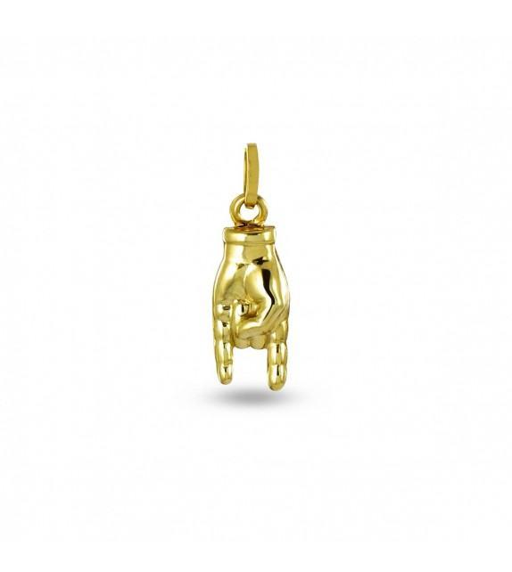 Pendentif main en forme de cornes en Or jaune 375/00