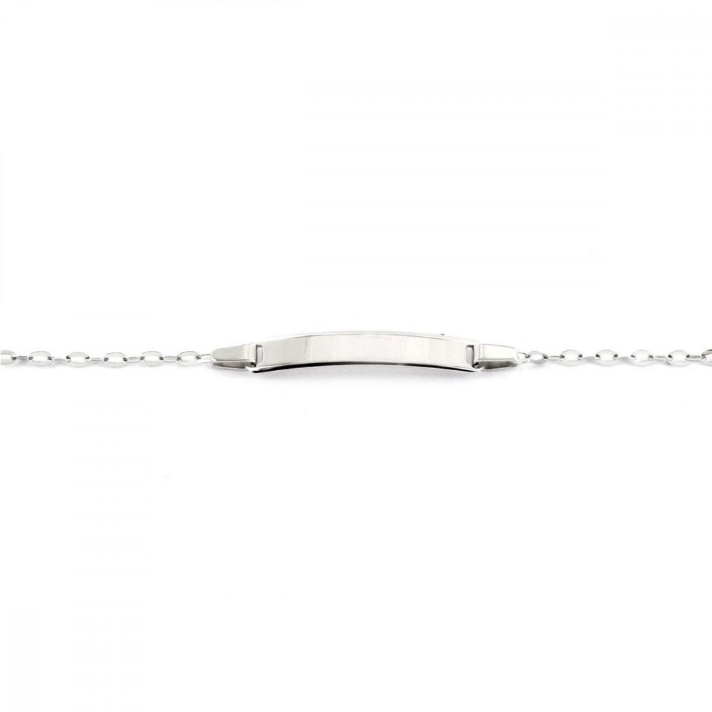 Bracelet bébé avec plaque identité en Or blanc 375/00