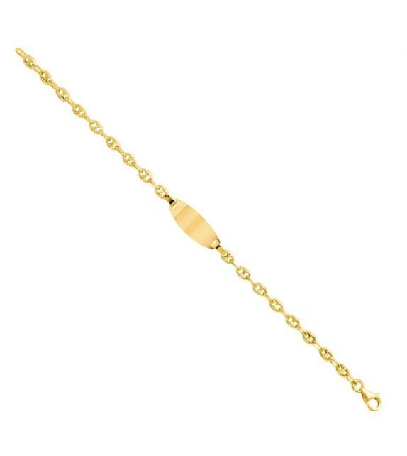 Bracelet bébé avec plaque identité en Or jaune 375/00