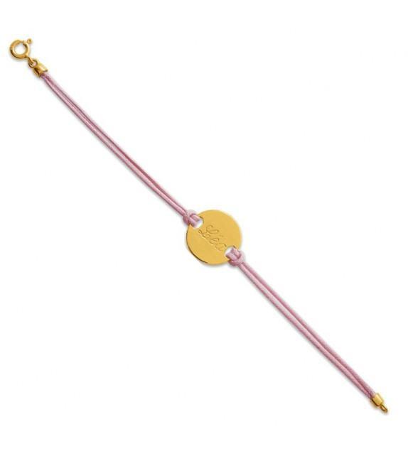 Bracelet jeton Or jaune sur cordon rose