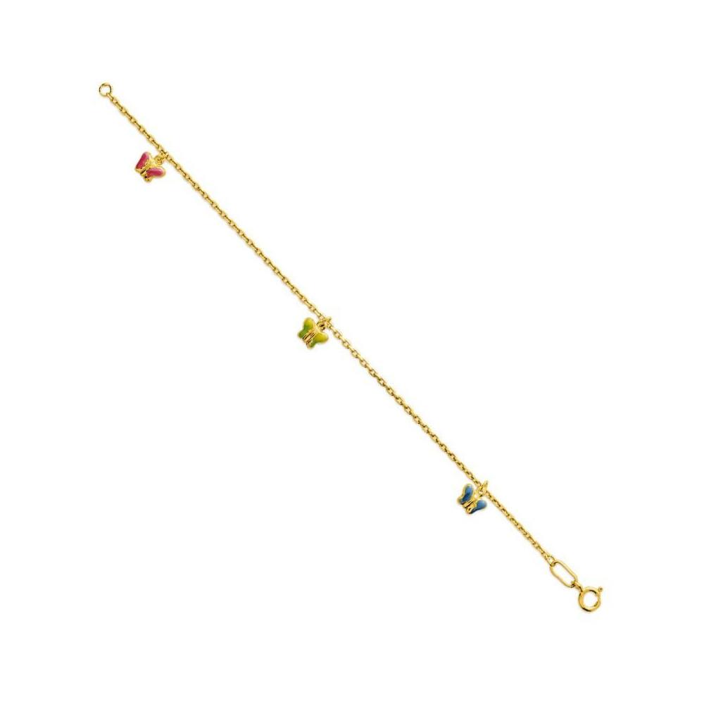 Bracelet bébé en Or jaune 375/00 et papillons multicolores