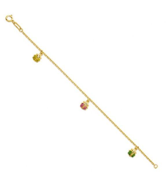 Bracelet bébé en Or jaune 375/00 et coccinelles multicolores
