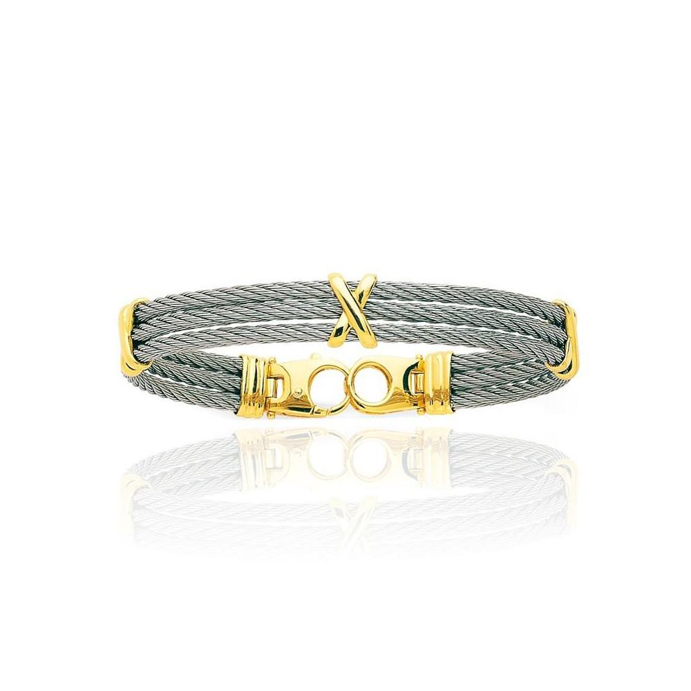 Bracelet cable en acier et détails Or jaune 750/00