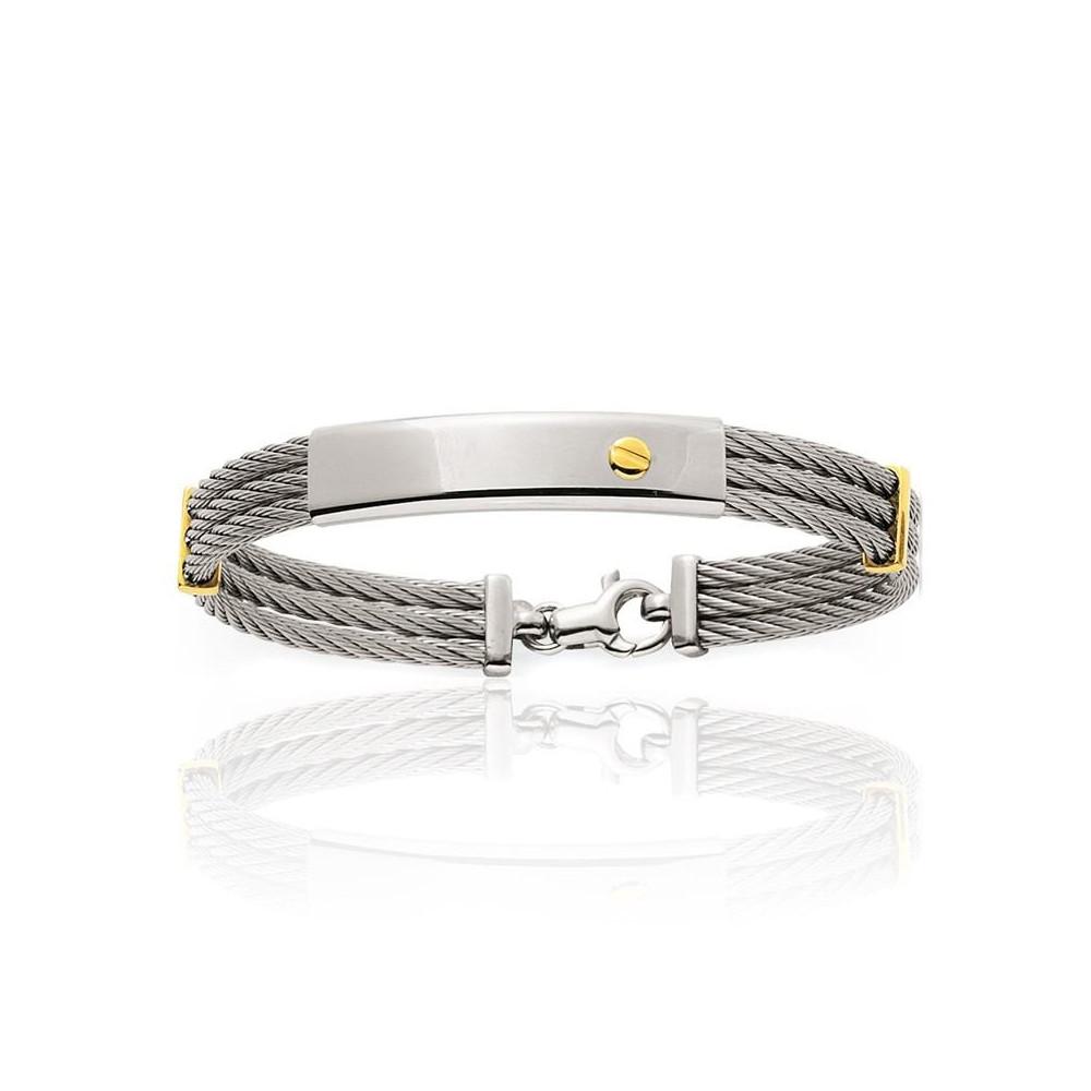 Bracelet identité en acier et détails Or jaune 750/00