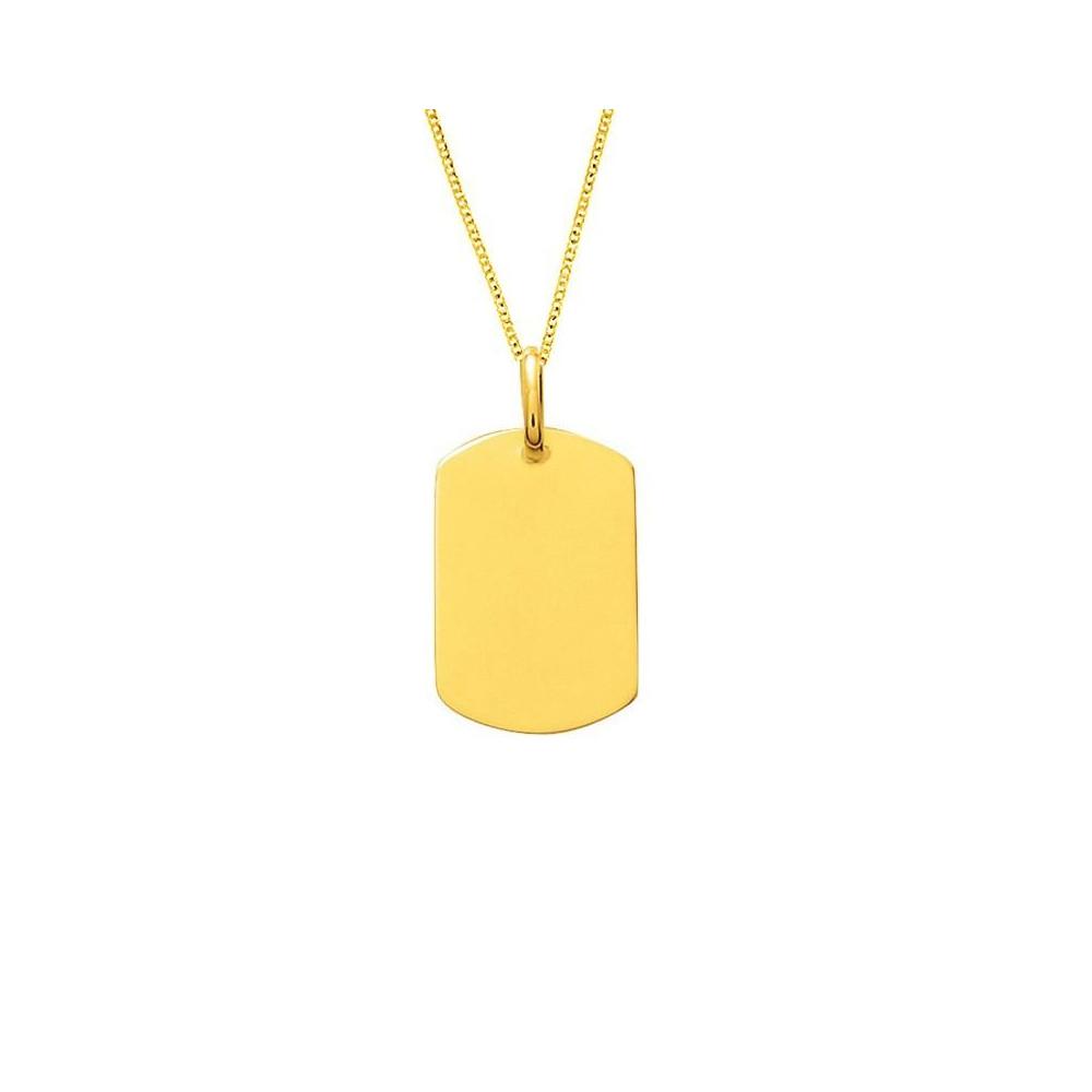 Chaine et pendentif plaque GI en plaqué Or