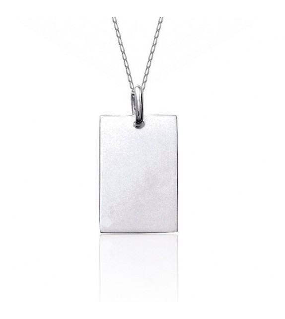Chaine et pendentif plaque rectangulaire en Argent 925/00