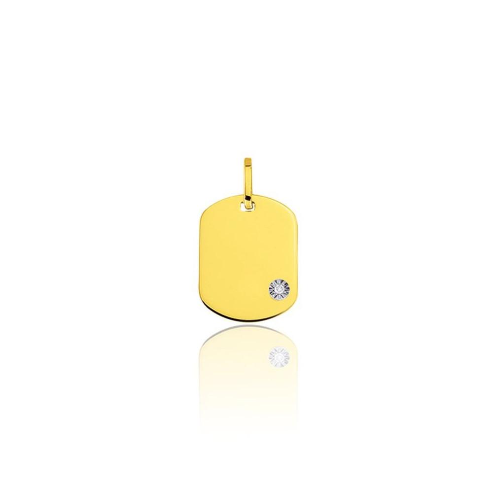 Pendentif plaque GI en Or jaune 375/00 et diamant