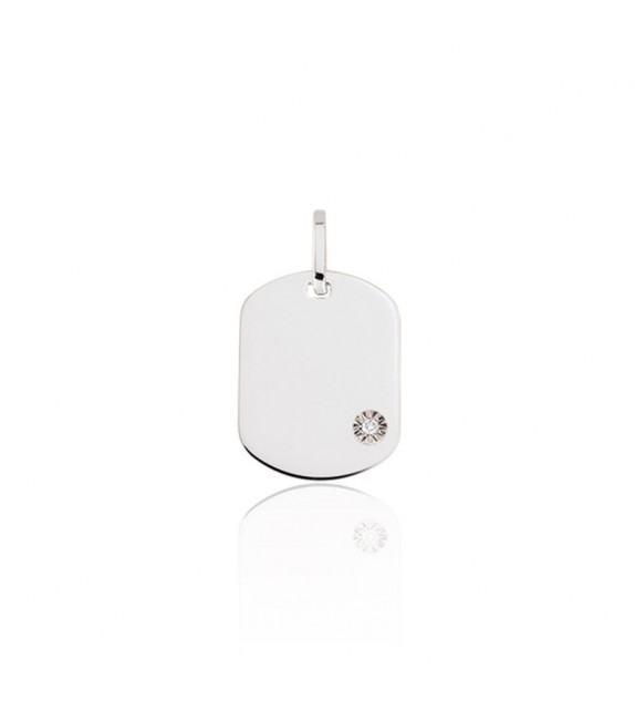 Pendentif plaque GI en Or blanc 375/00 et diamant