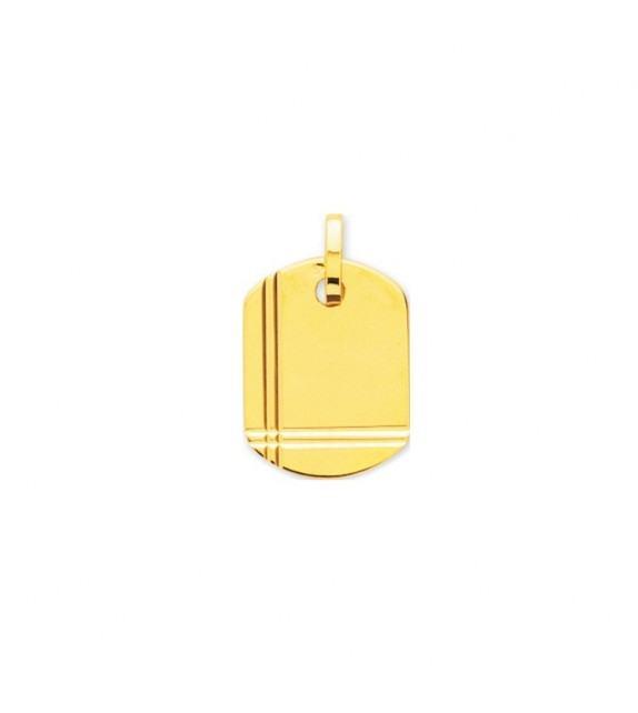Pendentif plaque GI avec détail en Or jaune 375/00