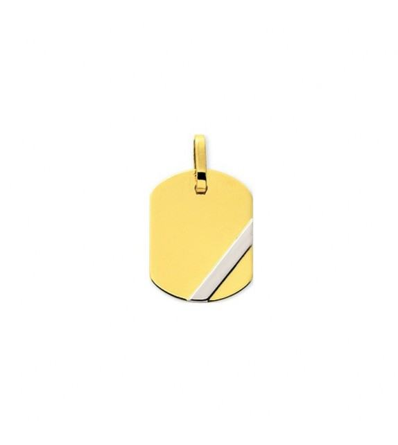 Pendentif plaque GI en Or jaune et détail Or blanc 375/00
