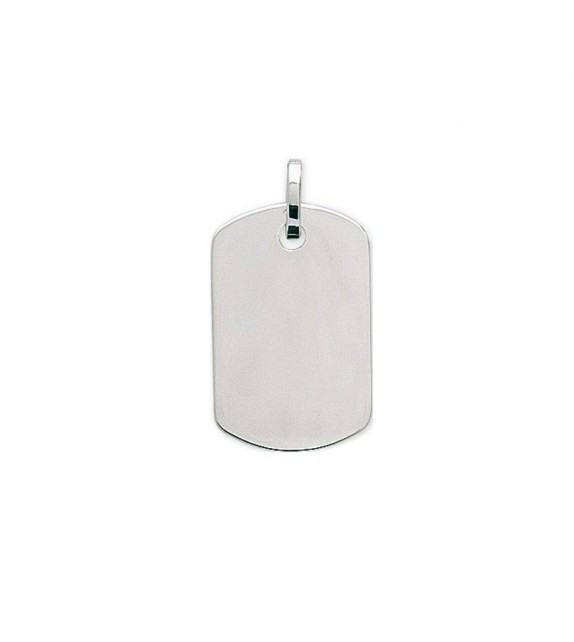 Pendentif plaque GI en Or blanc 375/00