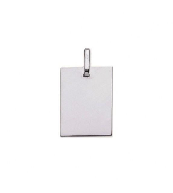 Pendentif plaque rectangulaire en Or blanc 375/00